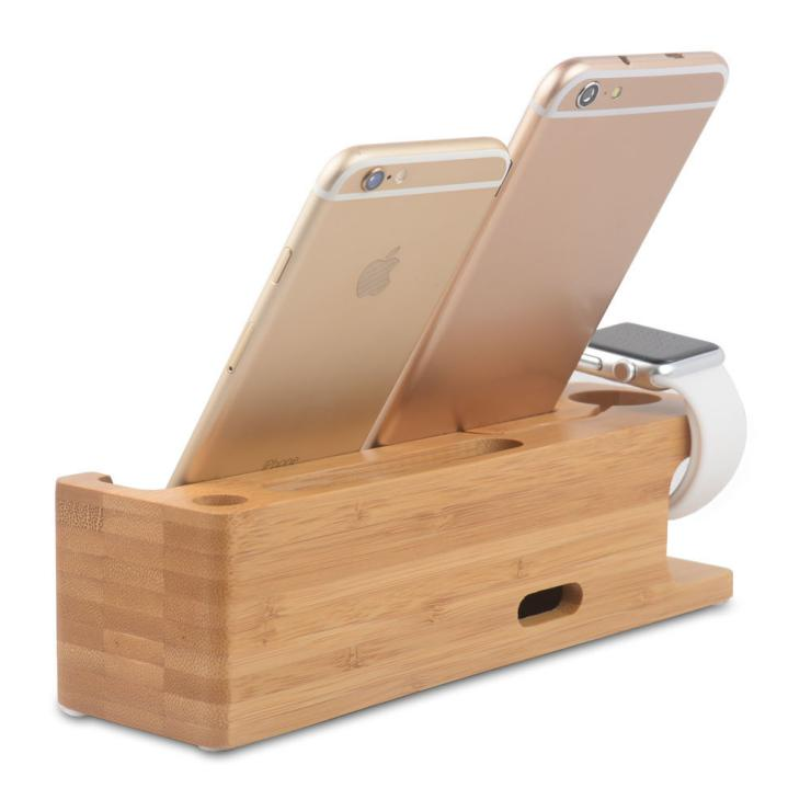 Bamboo mobile phone holder Lazy people ipad charger stand