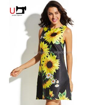 52efa5f793f Western Fashion Sunflower Printed Casual Loose Fit Summer Dress Daily Wear  Dresses Women