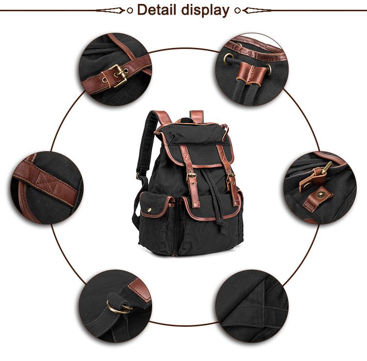 Custom color navy fashion vintage canvas backpack rucksack