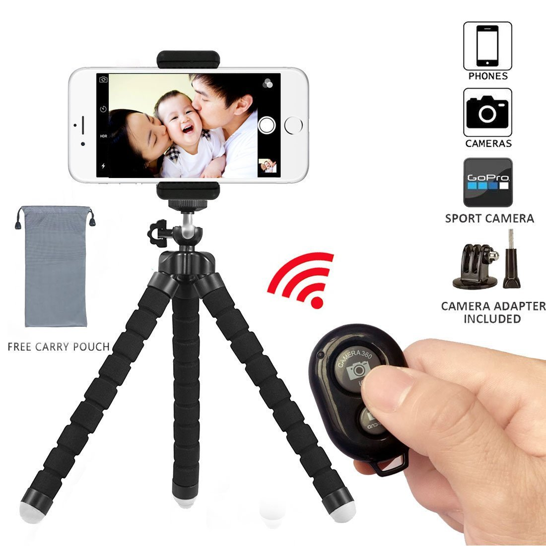Phone Tripod, Flexible Mini Phone Stand with Bluetooth Camera Remote, Portable and Adjustable Camera Stand Holder with Remote and Universal Clip for iPhone, Android Phone, Camera, Sports Camera