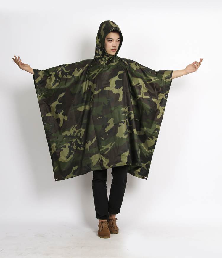 Cheap full Length Printed PVC Hooded Rain military poncho for adults