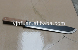 A heavy steel cutting blade with a broad back hacking knife