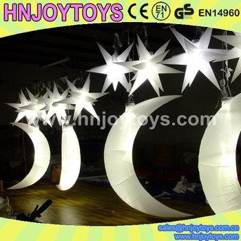 Cheap Suspended inflatable glowing star and moon with LED light