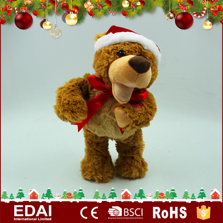 Wholesale home decoration singing and dancing brown musical plush christmas teddy bear