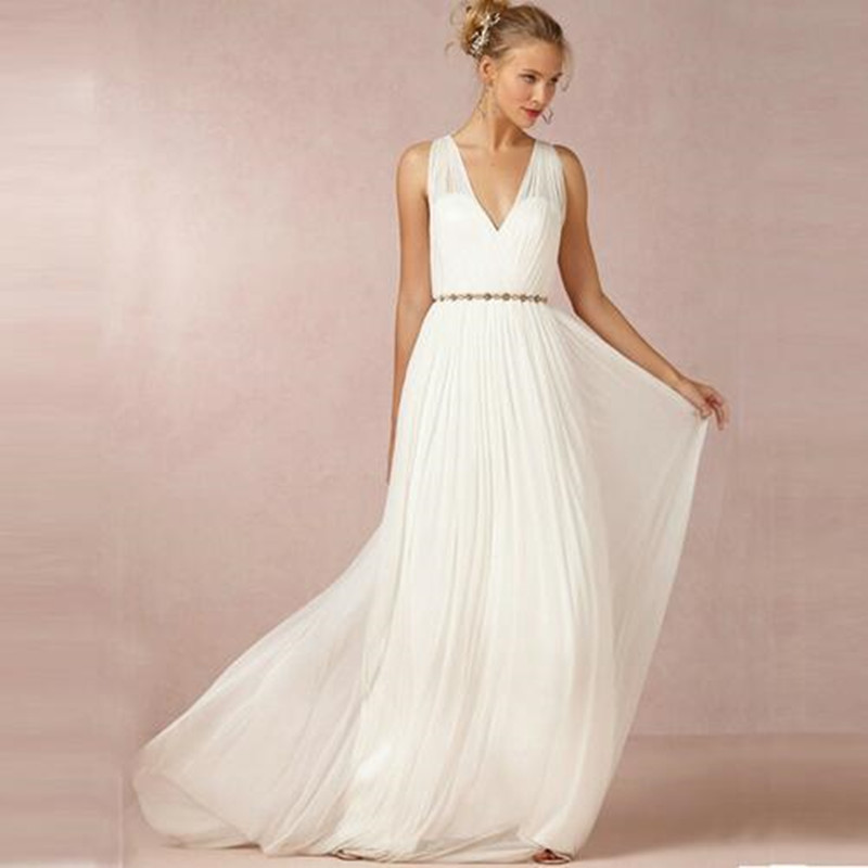 Custom Made Wedding Dress Greek Inspired: 2016 Backless V Neck Wedding Dresses Boho Beach A Line