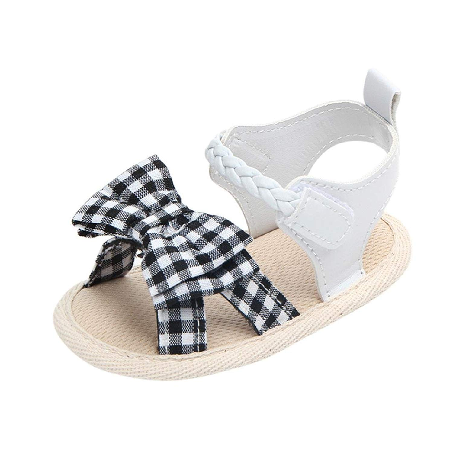 1fd2b10d9e6 Get Quotations · WOCACHI Baby Girls Shoes Summer Bow Plaid Soft Weave Crib  Shoes for Infant Girls Anti-