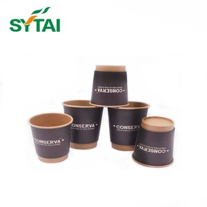 8oz eco friendly designed PE coated double wall kraft paper cups for coffee