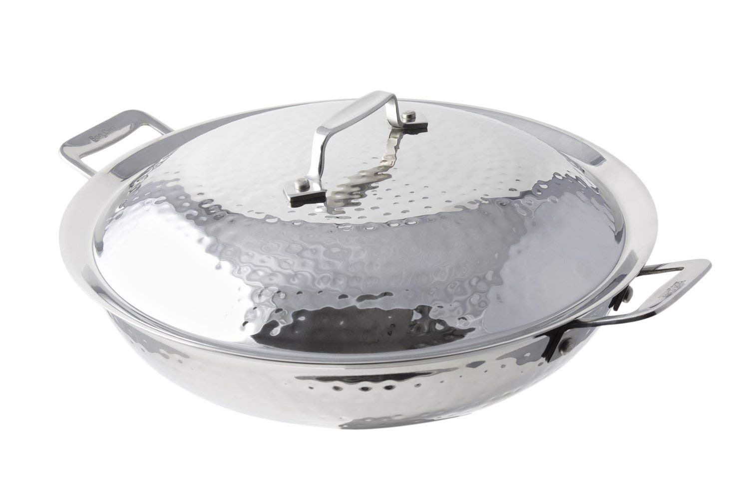 """Bon Chef 60015HF Stainless Steel Induction Bottom Cucina 12"""" Chef's Pan with Lid and 2 Side Handles, Hammered Finish, 3-1/2 quart Capacity, 14-29/32"""" Length x 12"""" Width x 6-13/64"""" Height"""