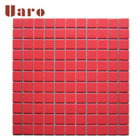 Red ceramic mosaic tiles for home decoration