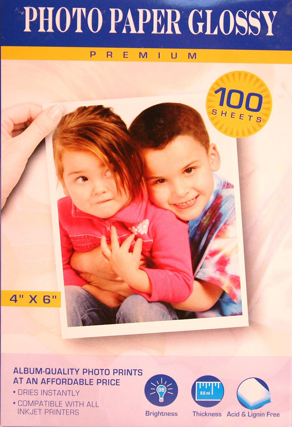 Premium Inkjet Photo Paper 4x6 Inch Glossy ~ Pack of 100 Sheets