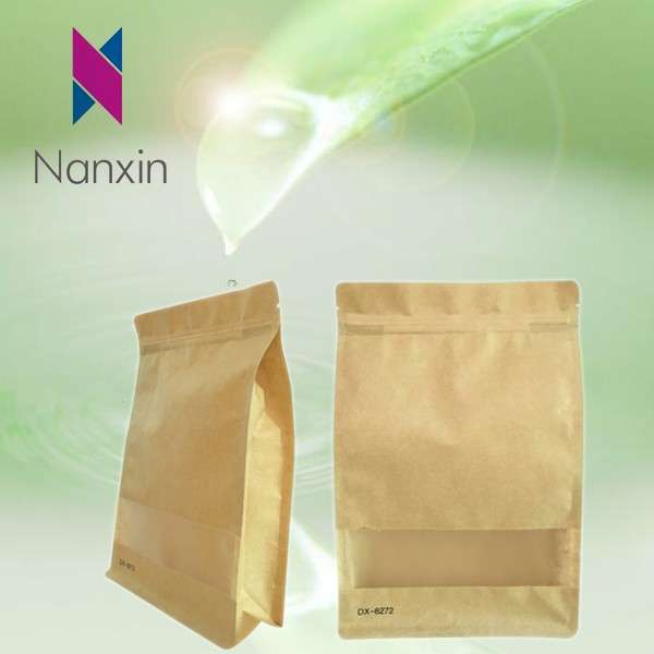 food grade packaging pouch laminated flat bottom kraft paper bags for solid drink