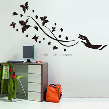 large black hand and butterflies modern wall sticker for bedroom