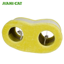 yellow love shaped cat scratcher house with toys