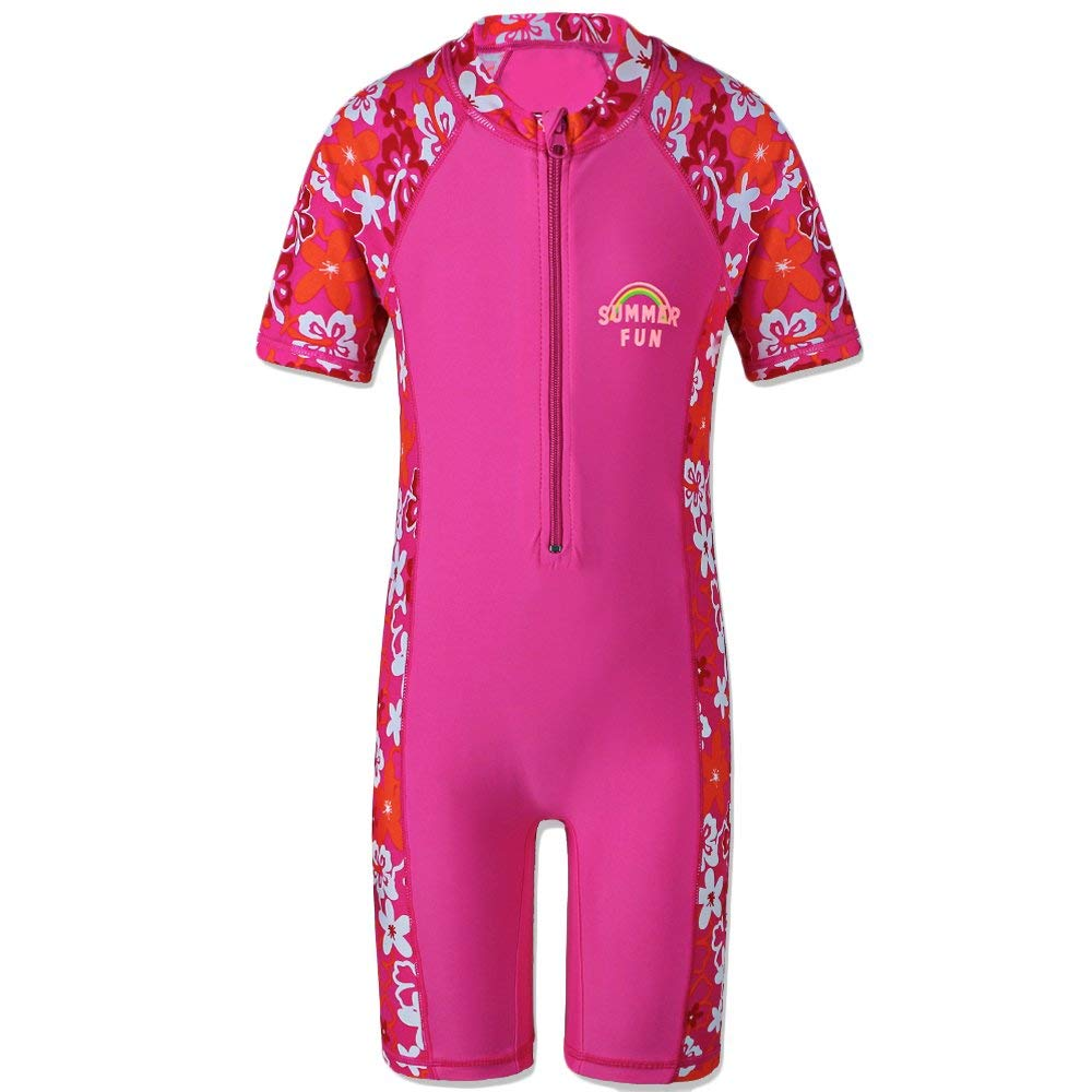 34321a4443 Get Quotations · HUANQIUE Girls Swimsuits Flower Bathing Suits Rash Guard  One Piece