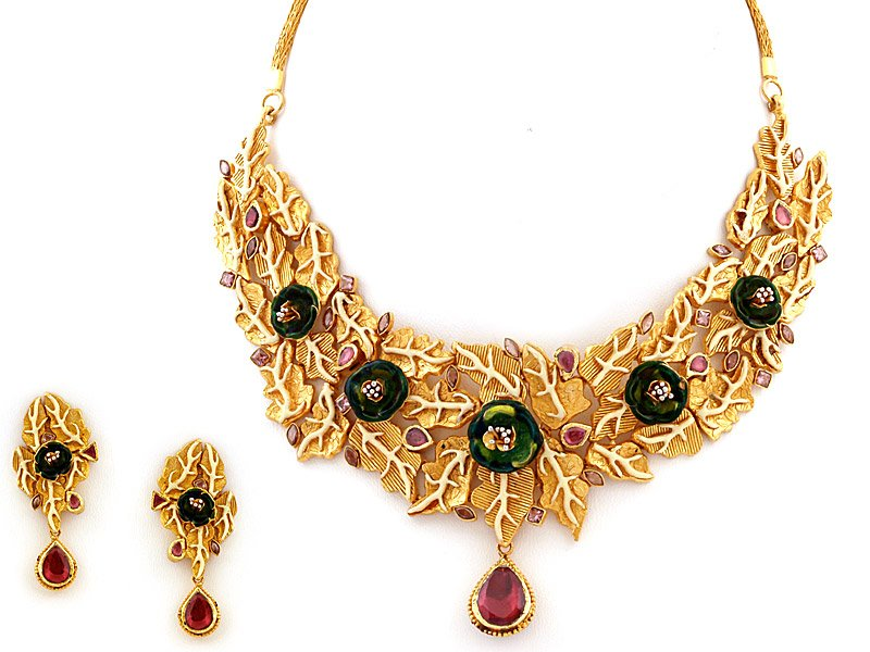 Designer 22kt Gold Indian Jewellery Neckalce Set Buy Indian