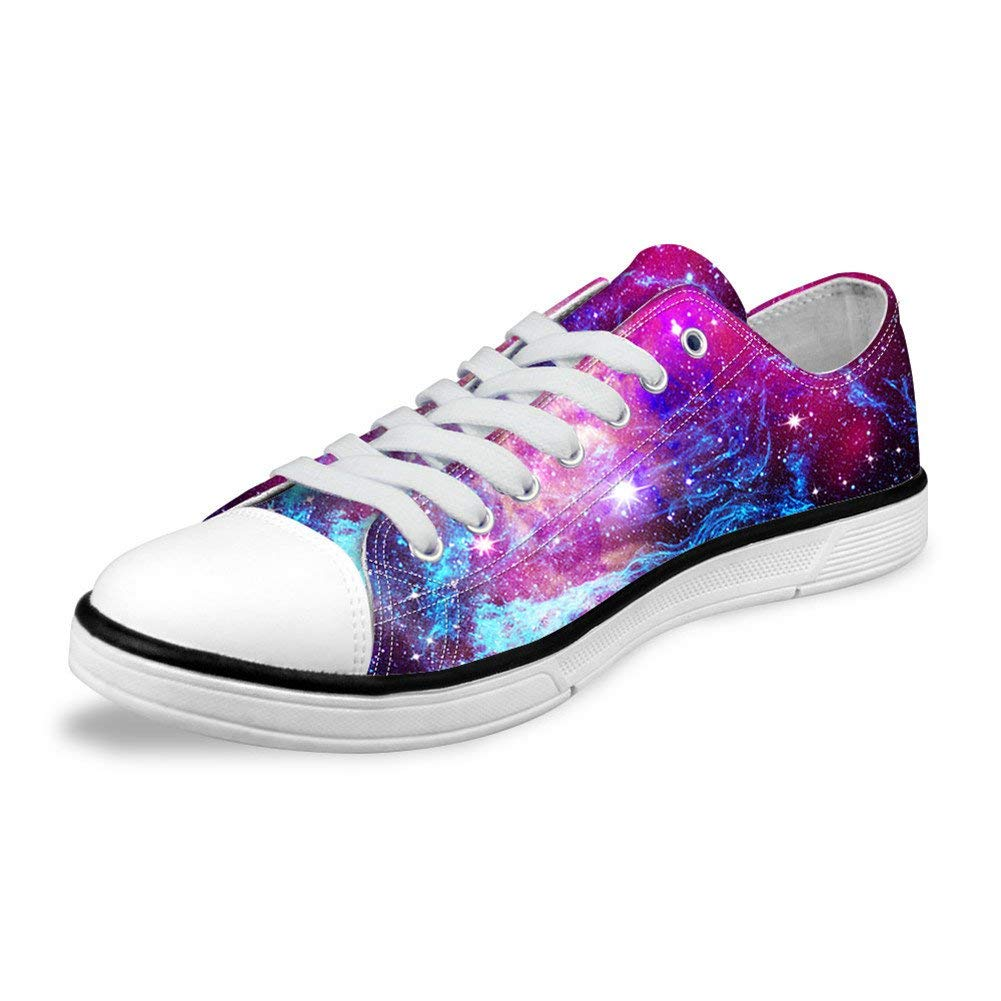 FOR U DESIGNS Stylish Unisex Galaxy Print Canvas Fashion Sneaker Casual Lace-up Low Top Flat Shoes