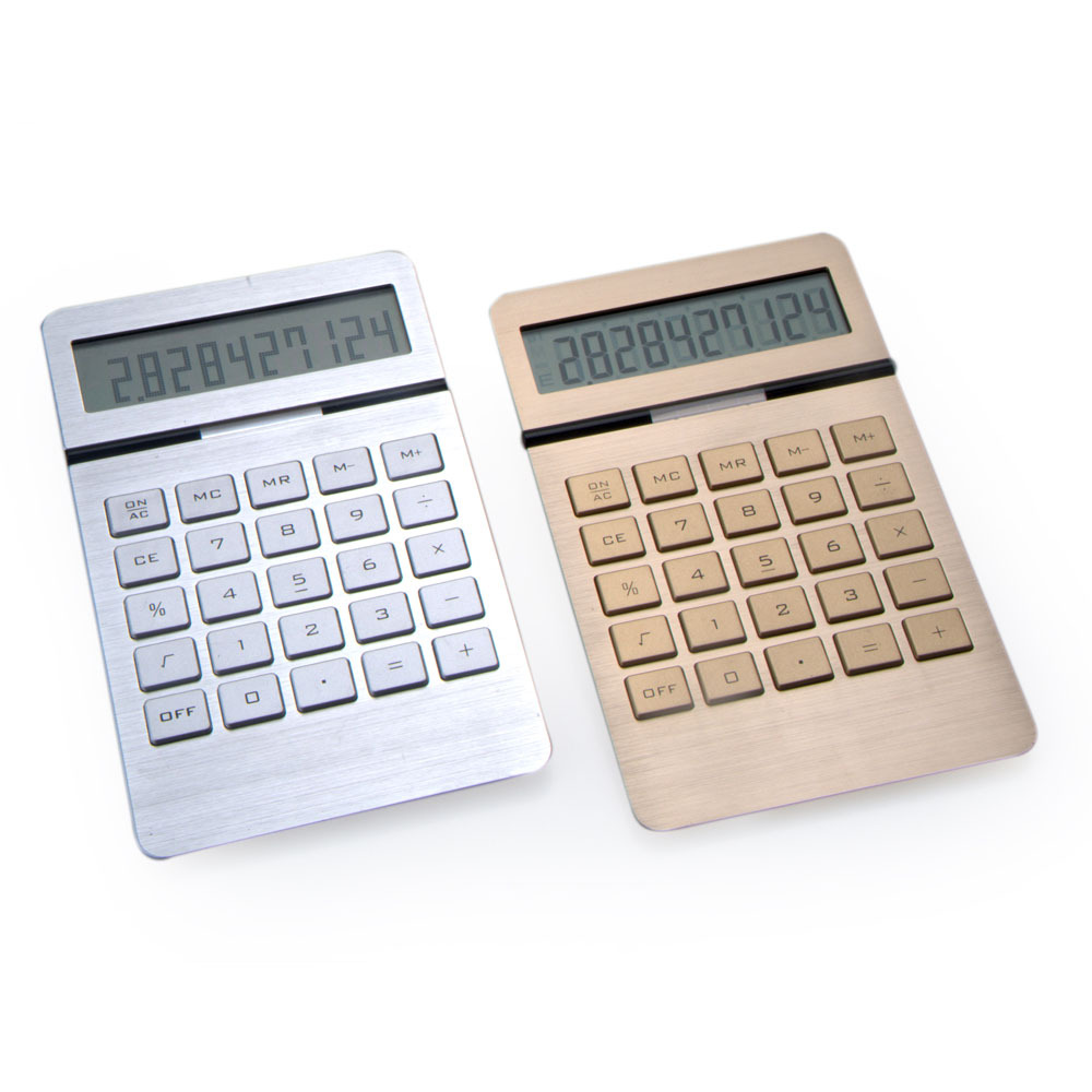 Aluminum Surface Office Gift Calculator, Dual Power 10 Digit Electronic Calculator