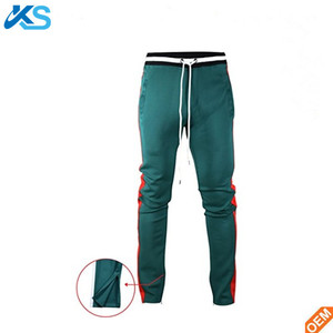 Tactical man polyester with side red stripe zipper ankles mens track pants