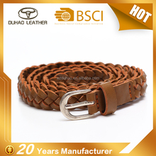 Ladies slim braided pu leather belt for decoration