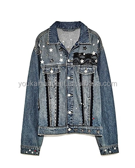 2017 Spring Funky Women's Denim Jacket With Metallic Details New ...