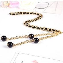 Кольцевой ремень-цепочка для женщин, модное женское платье, черный, золотой, серебряный тонкий пояс на талии, металлический пояс Cinturon Fino Mujer, ...(Китай)