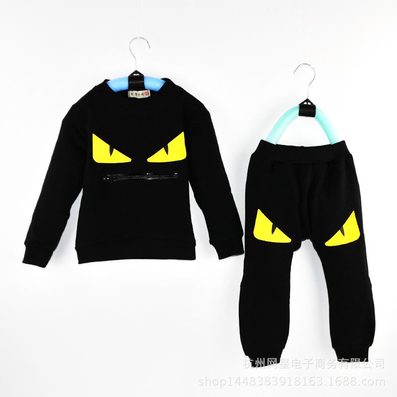0-4T 2016 Summer Korean Kids Clothes Boys Cotton Monster Cartoon T-shirt Pants Set Sport Suit Tracksuit For Boys Clothing Sets