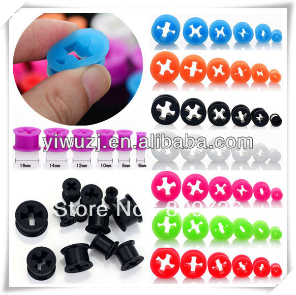 silicone piercing ear gauges many different style for choice skull lizard star peace heart plugs ear piercing