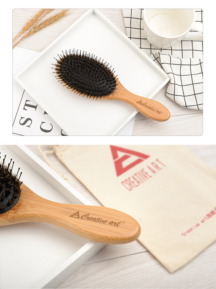 New Product Customize Label Logo Bamboo Wood Brush Comb Women Hair comb
