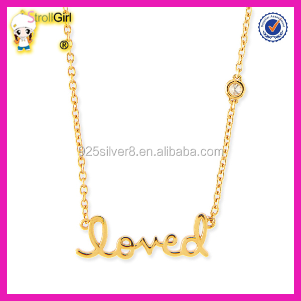 Classic design jewelry 925 sterling silver letter love fashion gold pendant neckalce with cz