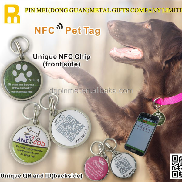 Printable QR Code Pet Tag NTAG213 NFC Dog Tag Epoxy Name ID Pet Tag For Dog Cat Tracking
