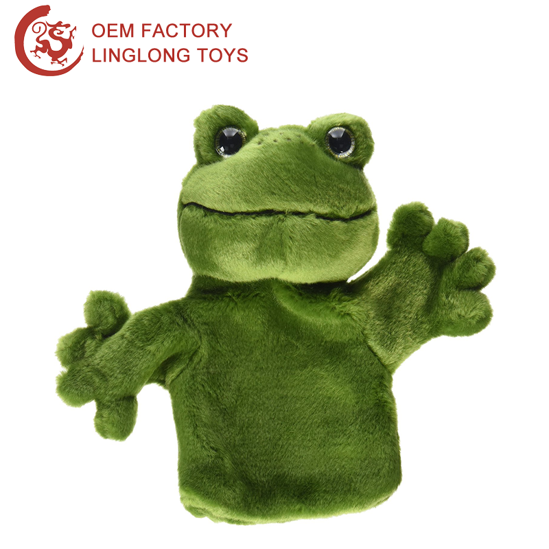 Manufacture Wholesale Frog Hand Puppet Plush Toys Full Body Hand Puppet Theatre Plastic Eyes Green Frog Finger Puppet
