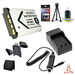 Halcyon 1400 mAH Lithium Ion Replacement NP-BG1 Battery and Charger Kit Memory Card Wallet Deluxe Starter Kit for Sony Cyber-Shot DSC-W300 Digital Camera and Sony NP-BG1 Multi Card USB Reader