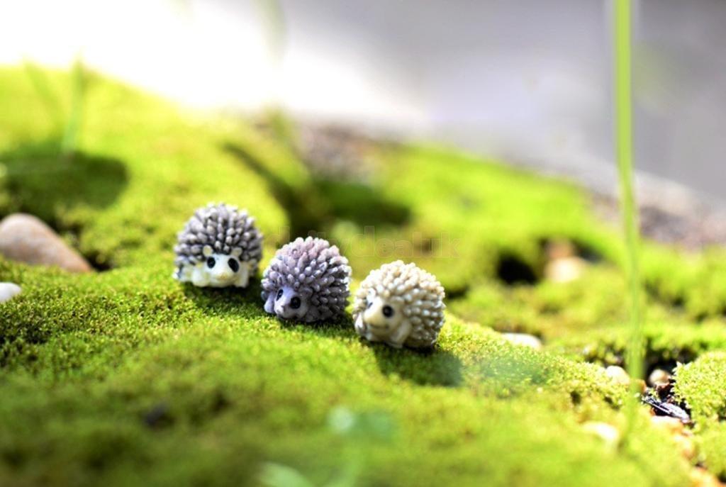 10pcs Miniature Bonsai Garden Ornament Landscape Hedgehog DIY Resin Decor