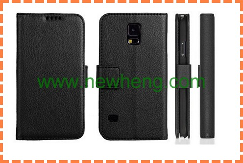 leather wallet book leather case for Samsung Galaxy S5 I9600 with card three slots