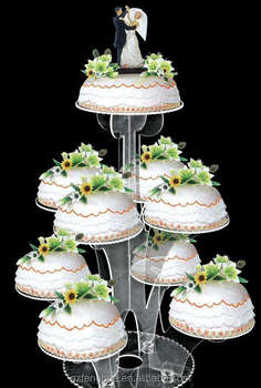 Customized Tier Square Clear Acrylic Wedding Cake Stand