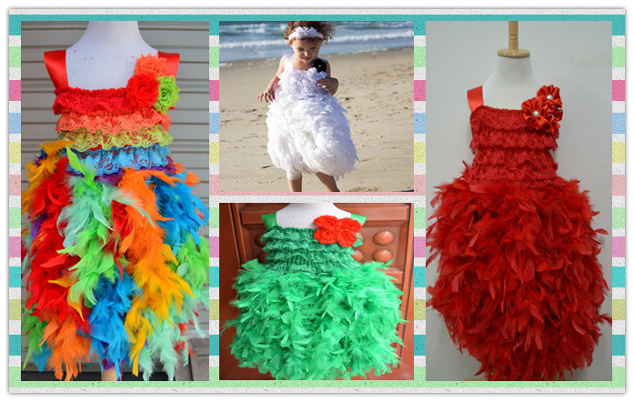 Christmas Fahion Rainbow summer hollday infant lace top evening dresses Girls birthday party feather lace dress