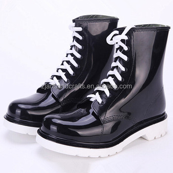 High quality classic injection ankle lace-up pvc martin rain boot rain shoe