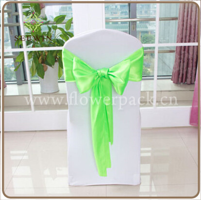 Wholesale Price Green Satin Sash for Cover Chair Spandex Decoration/Chair Bow for Party and Banquet