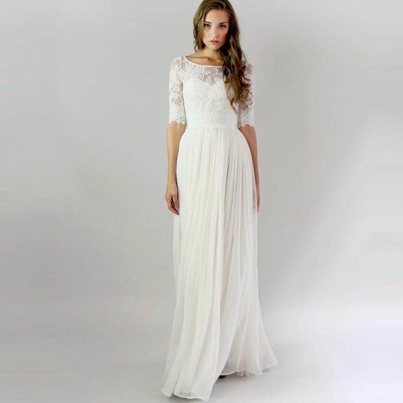 Vintage Long Beach Wedding Dresses With Half Sleeves 2016 ...