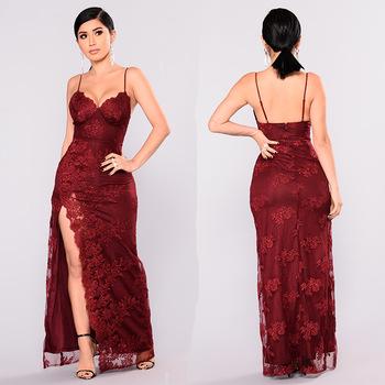 Red Spaghetti Strap Long Dress