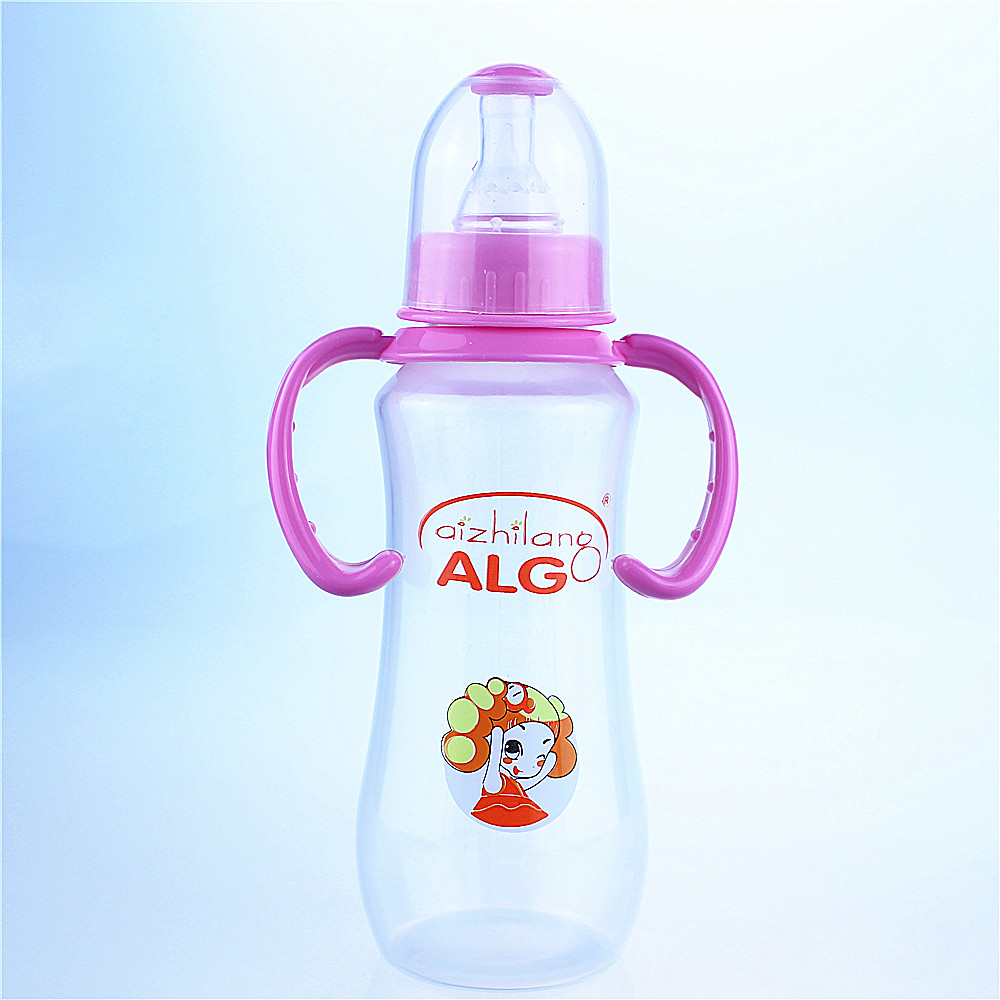 Arc-shaped 240ml China manufacturer PC feeding bottles with handle