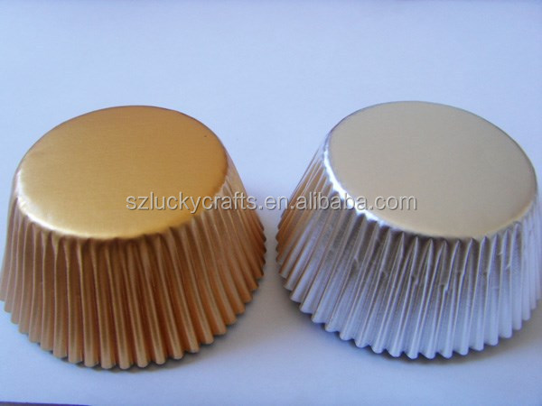 Large Stock, High quality low price siver&gold plain color foil paper cupcake liner muffin baking cup cake case