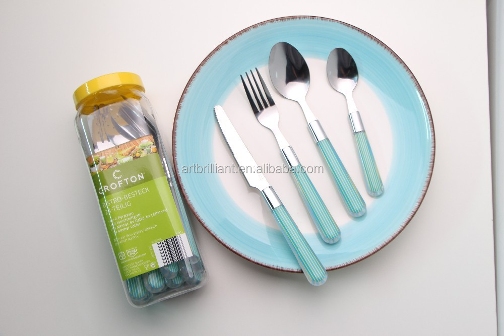 24 Piece Colourful Plastic Handle Bistro Cutlery Set With Hanging Stand