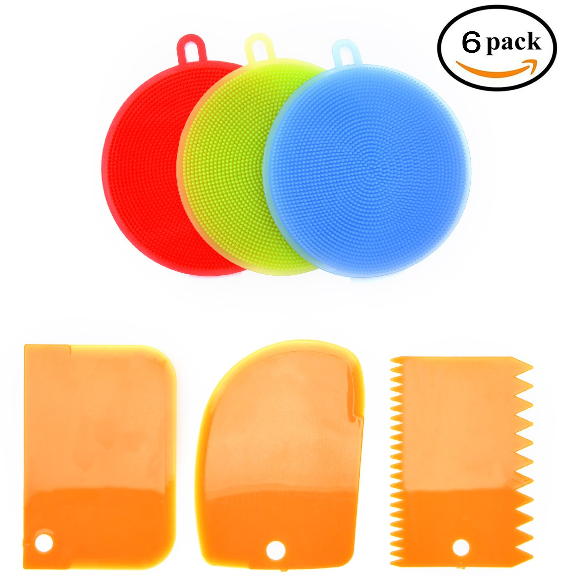 Food Safe Silicone Kitchen Sponge and Scrubber | Perfect Silicone Sponge For Dishes, Cleaning, Washing Fruits | Dishwasher Safe and Insanely Dense/Durable | 3 Included Heavy Duty Scrapers | (6 Pack)
