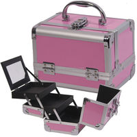 Pink aluminum cosmetic case, Beauty makeup case with sparkling