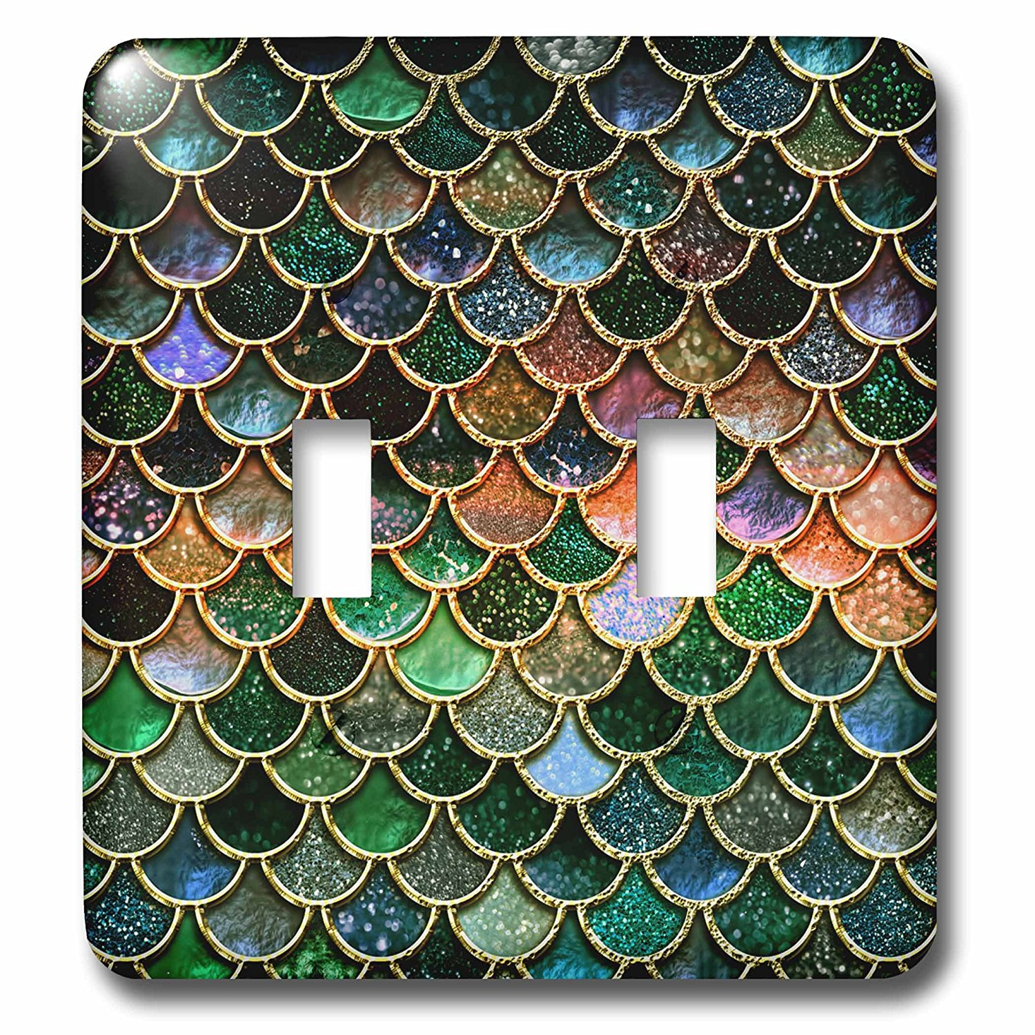 3dRose Uta Naumann Faux Glitter Pattern - Multicolor Girly Trend Pink Elegant Mermaid Scales Glitter - Light Switch Covers - double toggle switch (lsp_272868_2)