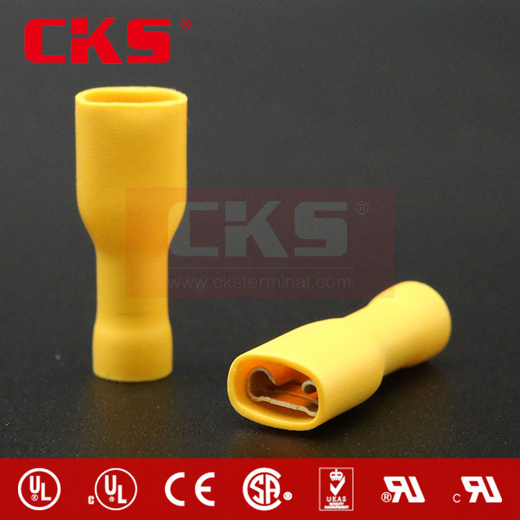 FDFD5-250 double crimp Female Full-insulated terminals Vinyl YELLOW FEMALE QUICK DISCONNECTS CONNECTORS SOLDERLESS TERMINALS