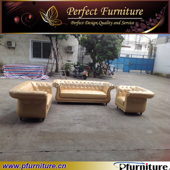 Merveilleux Europe Type Golden Leather Button Tufted Upholstered Sofa Set