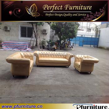 Europe Type Golden Leather On Tufted Upholstered Sofa Set