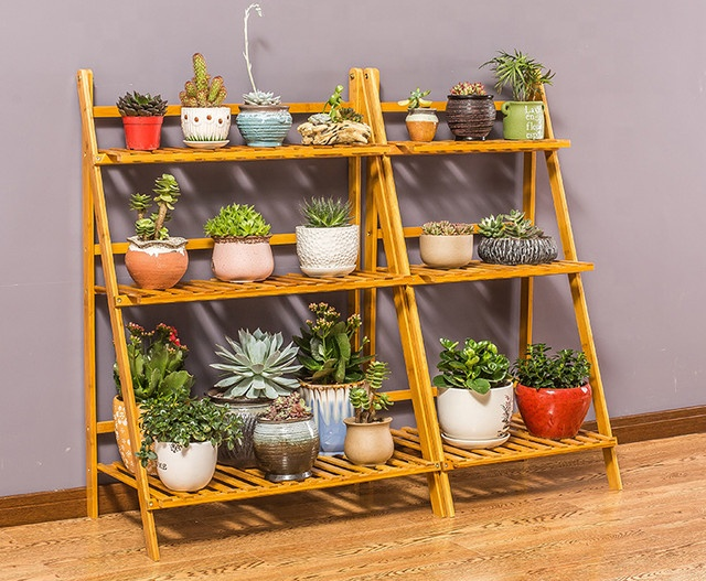 multi tiers bamboo flower pot <strong>shelf</strong> for plant stand rack organizer display